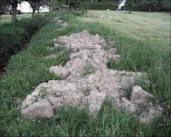 Excavation of stone blocks from Fort Miltenberg Altstadt at Springborn ditch