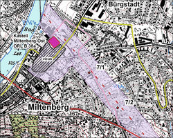 Fort Miltenberg-Bürgstadt and start of the southern Limes, UNESCO World Heritage map