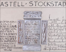 Stockstadt, dedication altar of the beneficiarius Caius Iustus, 180 AD. Illustration by Jean Friedrich (c. 1900). Tusche and water colours on paper, 37cm x 33cm