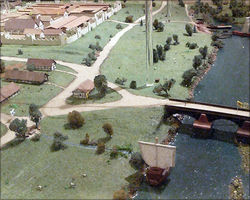 Diorama of the harbour and bridge, Fort Großkrotzenburg, Museum Großkrotzenburg