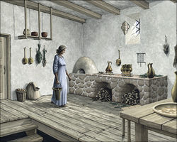 A woman in the kitchen with cellar access