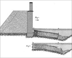 Collapsed fort wall with reconstructions, Wörth, draft from ORLB Nr. 36, 6 Fig 1,2.