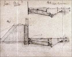 Collapsed fort wall, draft W. Conrady